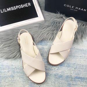 NEW COLE HAAN Ivory Fernanda Flat Sandals Size 7.5